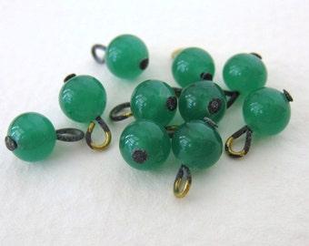 Vintage Green Glass Bead Drops Jade Brass Wire Headpin Loop Japan 6mm vgb0611 (10)