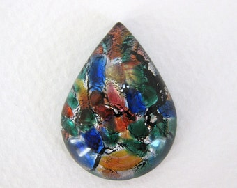Vintage Glass Cabochon Faux Opal Pear Fire Harlequin Foil Teardrop 30x22mm gcb0841 (1)