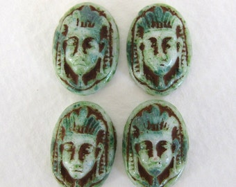 Vintage Egyptian Revival Glass Cabochon Pharoah White Green Brown Oval 16x11mm gcb0896 (4)