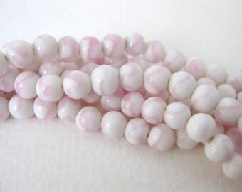 Vintage Japanese Beads Cherry Brand Pink White Swirl Glass Rounds 6mm vgb0702 (15)