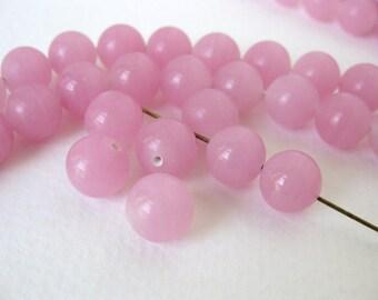 Vintage Japanese Beads Cherry Brand Rose Quartz Pink Glass Rounds 10mm vgb0735 (6)