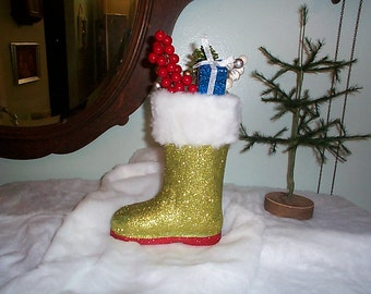 "Fab~Large~glittered~SANTA~boot~Hand decorated~7 1/2"" x 9 1/2""~Faux~Fur~Boot~Gorgeous~"