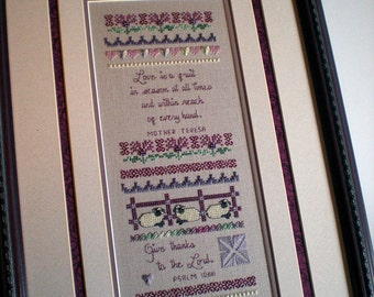 Cross Stitch Pattern, Physical Pattern, Band Sampler, Spring's Grace, Mother Teresa, Soft Spring Colors, Something In Common