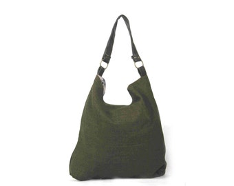 Black hobo bag, large handmade canvas over shoulder bag for women and girls, Maxi May (1)
