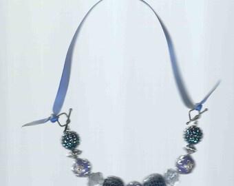 Handmade Bling Blue Beads Necklace