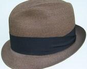 7 1/4 - Vintage Adam Copper Brown Straw Mens Fedora Hat