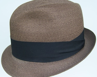 7 1/4 - Vintage Adam Copper Brown Straw Mens Fedora Hat