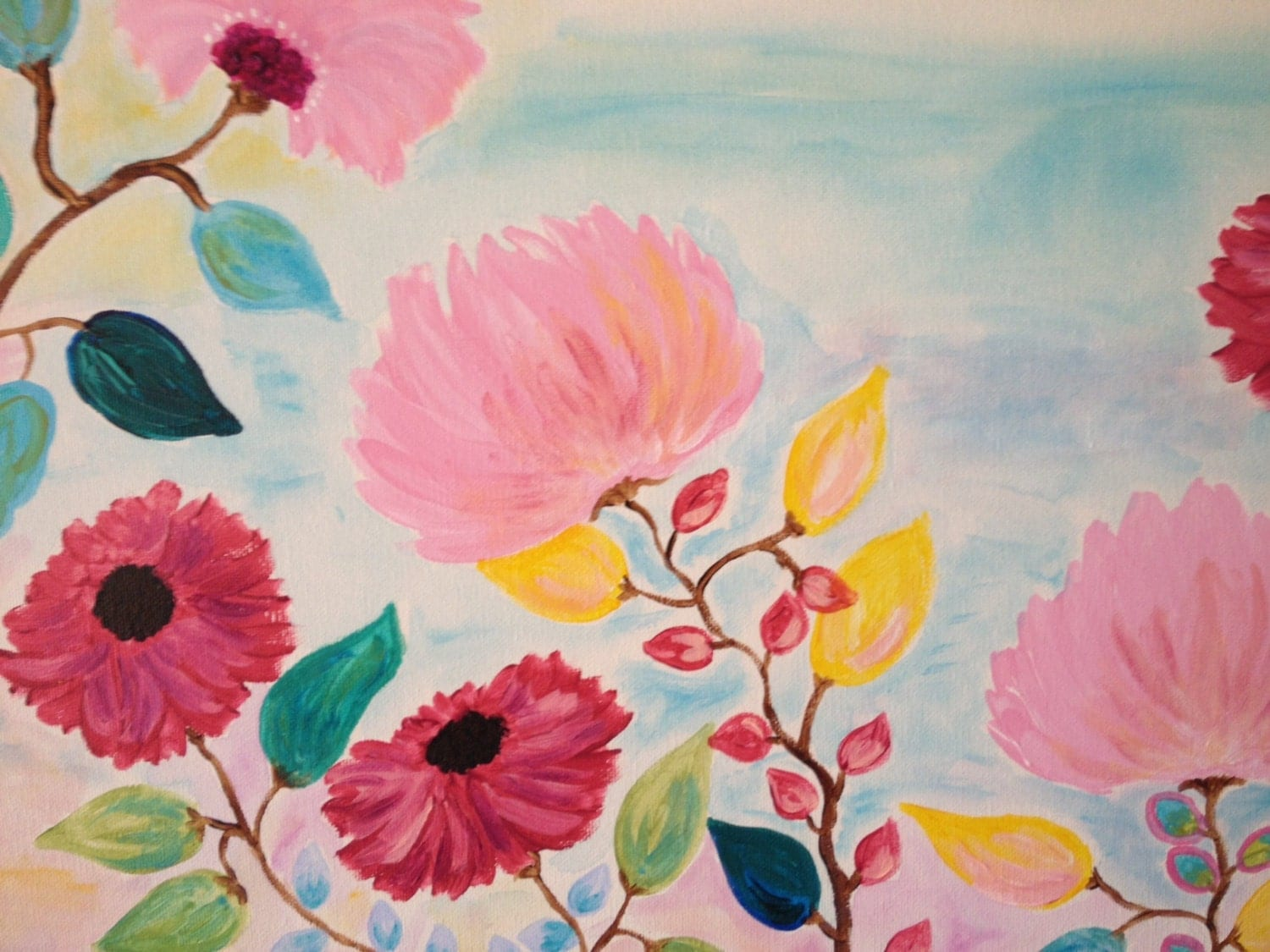Whimsical Pink Flowers Original Painting Girls Room By