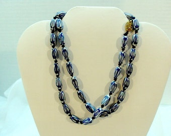 Vintage Handknotted Delft Bead Necklace