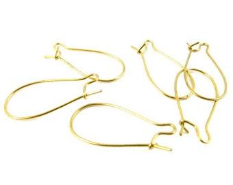 Raw Brass Kidney Ear Wires Earring Findings - 25x12mm - 24