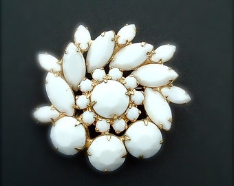 Wedding White Vintage Rhinestone Brooch Milk Glass Sunburst Juliana,