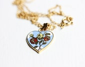 Sample Sale - Sky and Flowers Heart Necklace