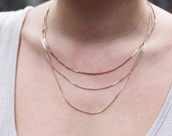 Mixed Metal Chain Necklace, Tiered Necklace, Chain Necklace, Mixed Metal Necklace