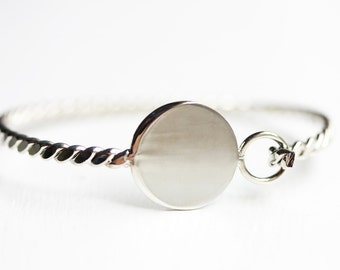 Silver Circle Bracelet, Round Silver Bracelet, Bracelet Blank, Silver Cuff Bracelet, Silver Cuff