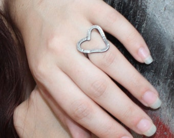 "Sterling Silver Heart Ring, Bold and Distressed Item #100103 - ""Rustic Heart"""