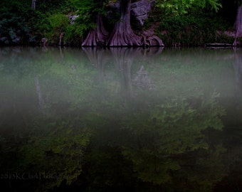 Jade Reflections Fine Art Photography Texas Hill Country Landscape Cypress Trees Serene Emerald River Magical Mystical water image peaceful