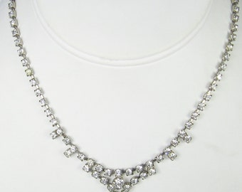 Vintage White Rhinestone Necklace
