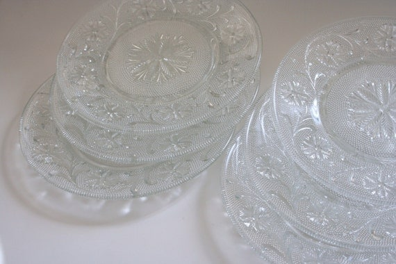 Clear Glass Salad Or Luncheon Plates Set Of Six Depression