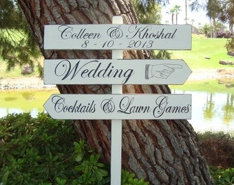 WeDDinG SiGn  - DiReCTioNaL WeDDiNg SiGnS - ClaSSic STyLe LeTTeRiNg - Custom Wedding SIGNS - 4ft Stake - Pointing Hand/Finger Sign