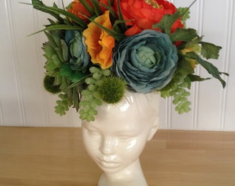 Modern Ceramic Head Planter. Made to order.
