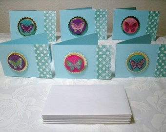 Your choice, Pink or Blue, Butterfly Note Cards, One 12 pc set, mini cards with envelopes