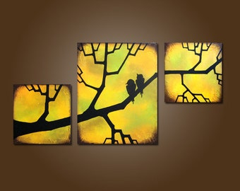 Looking Out - 40 x 20, Heavy Textured Acrylic Art PAINTING on canvas, Contemporary Earthy Love Birds Art