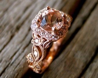 Salmon Peach Morganite Engagement Ring in 14K Rose Gold with Diamonds in Flower Buds & Leafs on Vine Motif Size 4