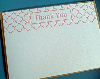 Modern Letterpress Thank You Notes in Coral Pink - set of 5