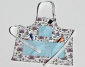 Reversible toddler's apron with pockets - artistic children gift - gifts for children - pastel art smock