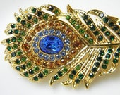 Swarovski Feather Hair Clip - Green and Blue Rhinestone Clip - Peacock Feather Hair Clip - Gold Hair Clip