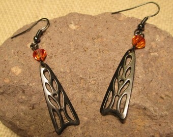 Ornate Orange Fire Opal Crystal Wing Earrings