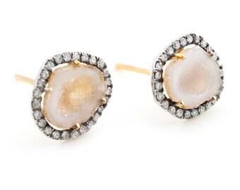 Geode Earrings, Pave Diamonds Earrings, Post Earrings, Yellow 14K Gold, One Of A Kind Earrings ,Tula Jewelry