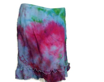Fitted tiedye skirt pink, blue, green Size Medium