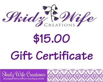15 dollar Gift Certificate