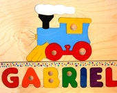Train with Name Wooden Puzzle - a great first birthday gift or toy for Toddlers, Preschool age boys and girls who love Choo-Choo trains!