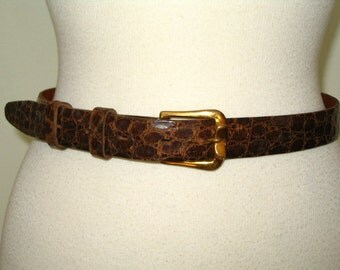 Macy's California 1970s Brown Alligator Belt Gold Buckle Size M