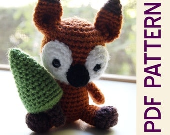 Amigurumi Sly Fox Woodland Forest Buddy with Christmas Tree Crochet PDF Pattern