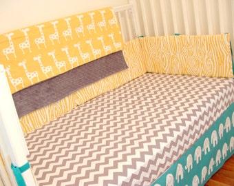 Baby Bedding - Yellow, Aqua and Gray Custom Crib Bedding - Chevron, Elephants, Giraffes, Grey