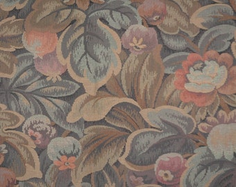 "Tapestry Fabric Aqua, Tangerine, Taupe, Looks  Antique  56"" x 42"""
