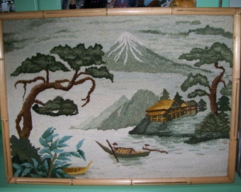 Handmade Asian landscape picture hooked wool needlework in bamboo frame