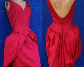 Vintage 50s 1950s Neal of California DuPuis Couture Red Cocktail Peplum Party Dress Pinup Wow