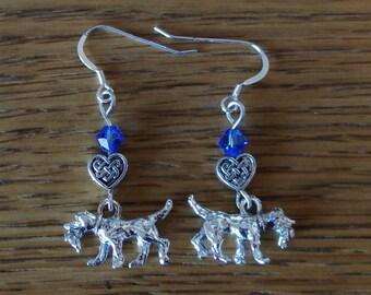 Dog Charm Earrings- Pewter Retriever/Spaniel/Setter Dog with Blue Crystal Bead