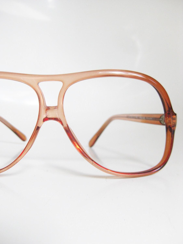 vintage 1970s aviator eyeglasses optical frames rust clear