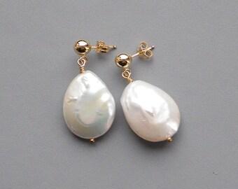Large White Pearl Dangle Gold Post Earrings