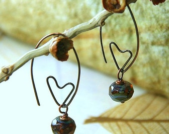 Tender Heart Earrings - Hammered Copper with Picasso Czech Glass Beads Copper Jewelry