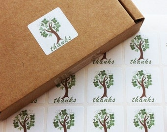 Tree Square Stickers, Packaging Labels, Envelope Seals x 140 Labels 1 inch (25mm)