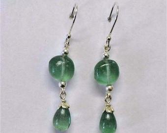 Roman glass earrings. Designer Sterling silver earrings  with roman glass