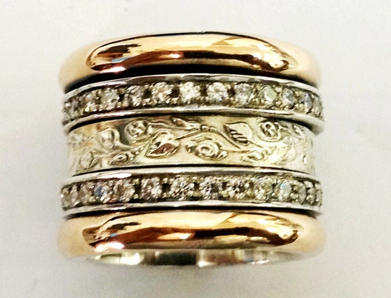 Spinner Ring Silver Gold Cz Zircons Bands Engagement By