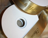 Reserved for Dolcedomus Thank You Gold Metallic on Gold Satin Ribbon DIY Gifts 1 5/8 Inch Wide 50 Yard Roll
