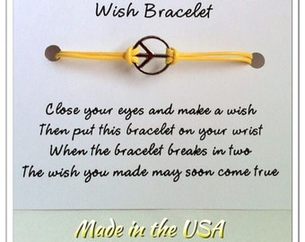Wish Bracelet, Peace sign wish bracelet, Charm bracelet, Friendship bracelet